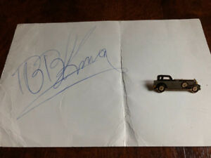 B.B. King autograph  and Car Pin