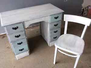 Antiqued desk and chair
