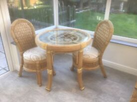 Grade A Cathay cane conservatory table and chairs