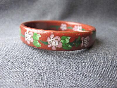 Vintage chinese flowers top & interior cloisonne enamel metal bracelet bangle