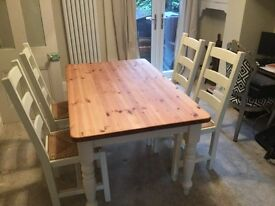 Solid pine table and 4 oak chairs