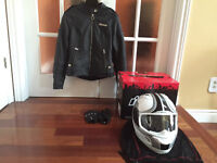 ICON Leather Motorcycle Jacket- Women's Small + Helmet + Gloves