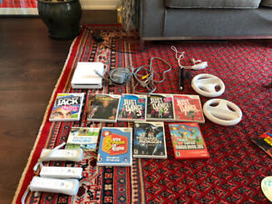 Wii console, controllers, and games