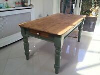 Country pine dining table with drawers