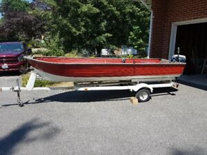 14ft aluminum boat, trailer and 9.5hp motor forsale