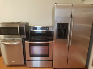4 pc stainless steel  appliances fridge,stove, microwave,dishwa