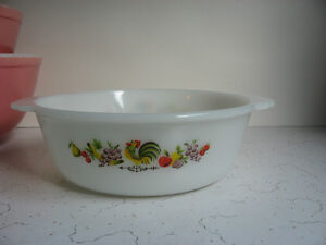Vintage Fire King Chanticleer Rooster Round Casserole