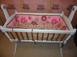* Price Reduce*Custom Made Solid Wood Rocking Cradle In White