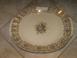 OLD OBLONG LIMOGES SERVING PLATTER with HANDLES
