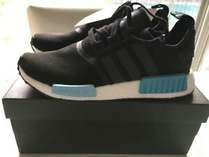 NMD R1 ORIGINALS - BLACK WITH BLUE - SIZE 10