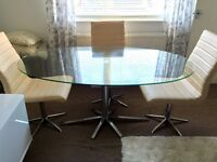 DWELL Stellar Oval Glass Dining Table Delivery Possible