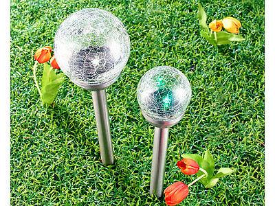 3 Licht Crackle (3 x  2 er Set  Lunartec Solar-Gartenlichter, multicolour, Crackle-Glas, 27cm, )
