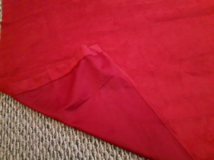 3 window length Red Curtains - Made of fabric with metal rings
