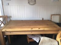 Large wood table and 3 chairs