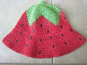 Gymboree Size 2T-5T Strawberry Summer Straw Hat