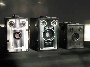 3 EXCELLENT EXAMPLES OF ANTIQUE BOX CAMERAS ($40 EACH)
