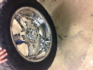 22 Inch chrome 6 bolt Chevy 35 inch tires London Ontario image 3