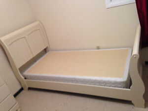 Girls bed frame and box spring and mattress
