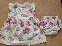 Jo Jo Maman Bebe dress with knickers BNWT 0-3 months