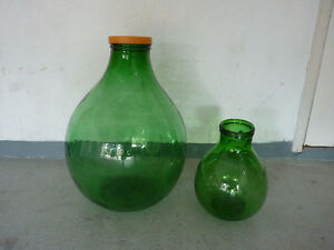 1 Large Green Glass Demijohns