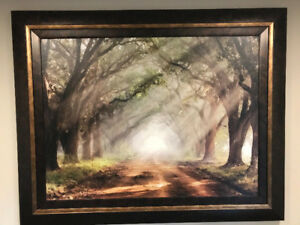 Beautiful Scenic Treelined Road Framed Picture 59L x 47W inches