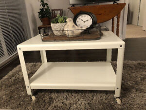White Metal Coffee Table (with wheels) - Great Condition!