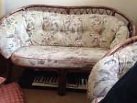 Cane furniture - two seater and single seater - faded hence price