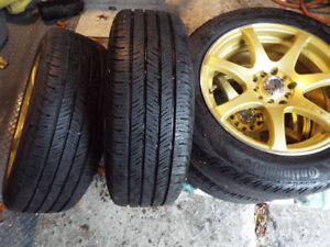 GOLD RTX SPORT RIMS AND TIRES 205-55-16