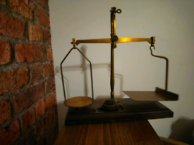 Antique post office scales and weights