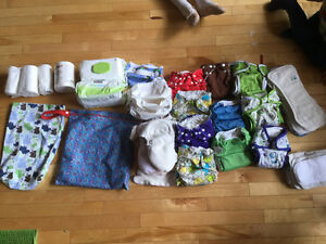 Cloth Diapers, Diaper wet bag, Baby wipes, Bummis liners