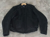 Mens Black Leather Motorcycle Jacket - Brand New Condition