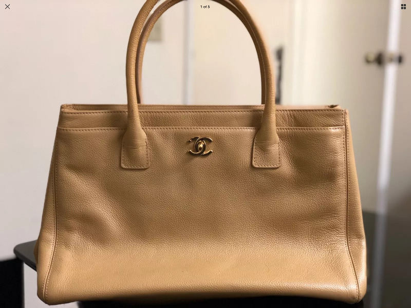 e0bba44318e0 Authentic Chanel Beige leather Executive Cerf Tote