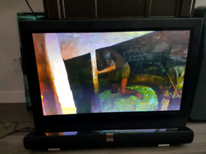 "Maxent 42"" Plasma TV / Vizio Sound Bar"