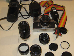 Canon Camera 35mm with all set of lenses and filters and case