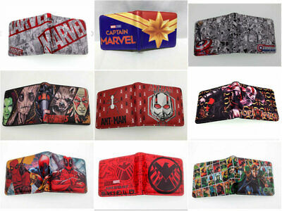 Anime Hulk Ant-Man  Thanos Deadpool Groot Bi-Fold Wallet Leather Gift Purses