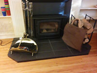 Fireplace set, log holder, gloves