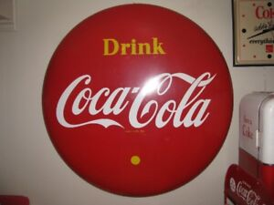 """COCA COLA COKE 48"""" BUTTON SIGN DATED 1955 WITH RARE HARD TO FI"""