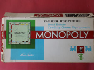 Vintage Monopoly Board Game 1961 Parker Bros. Near Complete