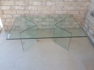 Large beveled glass top with glass base coffee table for sale London Ontario image 8
