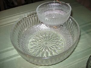 PARTY TIME-glass punch bowl &12 cups, chip bowl with dip dish