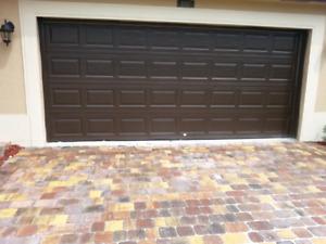 Brand new 16x7 espresso garage door