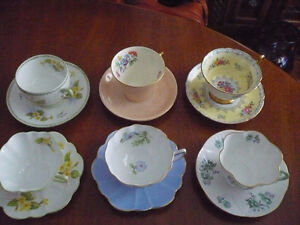 VARIETY OF BEAUTIFUL SHELLEY TEACUPS AND SAUCERS