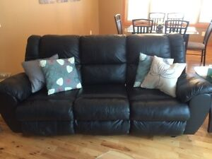 Moving Sale!! Black leather couch & lazy boy $1500