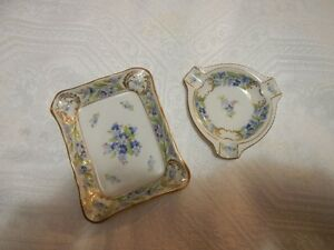 "Schumann Bavaria Germany ""FORGET ME NOT"" 2 Ashtrays Floral"