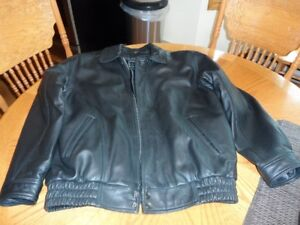 men's black large leather jacket with removeable inner liner