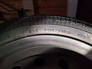 Goodyear Winter tires and rims.  P205/55R16
