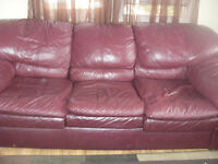 Leather couch and recliner