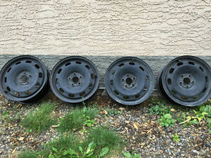 """15"""" 5x100 steel wheels plus a full-size spare"""
