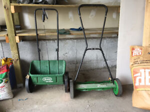 Rotary/ manual lawnmower & fertilizer spreader- must go by May 1