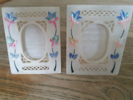 Vintage Alabaster Marble Inlaid with Semi Precious stone Photo Frames